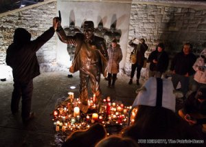 joe statue vigil
